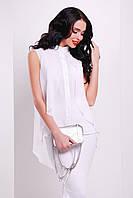 Белая блузка с пелериной.Белая блуза.Молодежные блузки. Блуза нарядная.Воздушная шифоновая блузка без рукавов