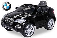 Детский электромобиль BMW X6 черный автопокраска, кожаное сидение, усиленный аккумулятор 10А
