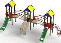 """Детский Игровой Комплекс """"Трехбашеный"""" (высота горки 1,2 м)"""