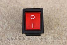 Кнопка переключатель узкий с подсветветкой ON-OFF, 3pin 16A 220V красный [на 4 клеммы]