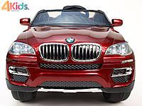 Детский электромобиль BMW X6 бордовый автопокраска, кожаное сидение, усиленный аккумулятор 10А