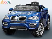 Детский электромобиль BMW X6 синий автопокраска, кожаное сидение, усиленный аккумулятор 10А