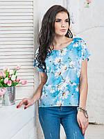 Модная женская легкая блуза с цветочным принтом р.44,46,48