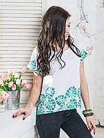 Красивая женская легкая блуза с модным принтом р.44,46,48