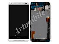Дисплей для HTC 802w One M7 Dual Sim + touchscreen с передней панелью белого цвета
