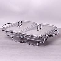 Мармит двойной стеклянный 2*1.5л с металлическими крышками и подставкой Kamille 6415