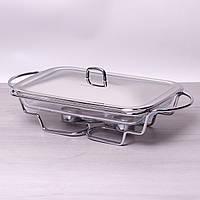 Мармит стеклянный 3л с металлической крышкой и подставкой Kamille 6410