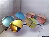 Солнцезащитные очки   miu miu -  голубые и желтые