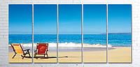 """Модульная картина на полотне """"Морской пляж"""""""