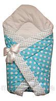 Тонкий конверт одеяло для новорожденных на выписку весна лето осень  90х90см Горох голубой