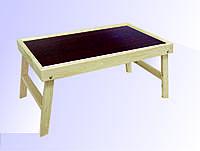Столик для завтрака  для декора с металлическими ручками. (столешница цвета коричневое дерево)