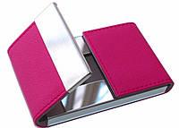 Визитница металическая с кожзамом розовая