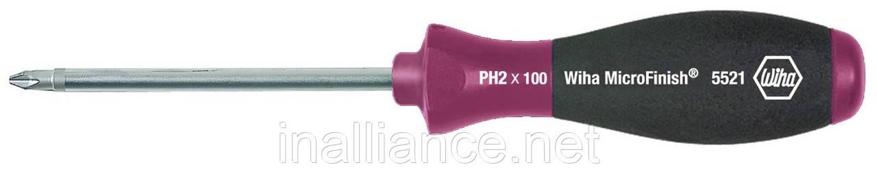 Отвертка PH2 x 100 мм нескользящая рукоятка MicroFinish Wiha 29143
