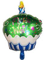 Фольгированный воздушный шарик Кексик зелёный 68 х 48 см.