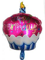 Фольгированный воздушный шарик Кексик красный 68 х 48 см.