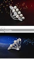 Необычное женское двойное кольцо с жемчугом и цирконием в регулируемом размере