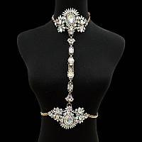 Потрясающее женское летнее украшение на тело с кристаллами мультиколор