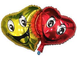 Фольгированный воздушный шарик Двойное сердце 72 х 42 см.