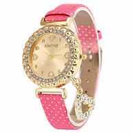 Наручные женские часы c розовым ремешком код 246