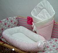 Кокон-колыбелька, позиционер Горошки(розовый)