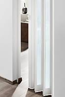 Складная дверь гармошка Eurostar Glass 83x205, белая сатинированная рамка вокруг матового белого стекла