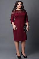 Красивое платье со вставками гипюра - марсал, мод 508-5,  размеры: 50-52, 52-54, фото 1