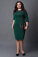 Зеленое платье больших размеров ,мод 508-4,   размеры: 50-52, 52-54, 54-56, фото 1