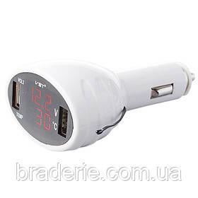 Термометр-вольтметр VST 708, черв. цифри, +2 USB