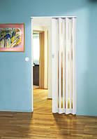 Складная дверь гармошка Eurostar Glass 83x205, белая сатинированная рамка вокруг структурированного стекла