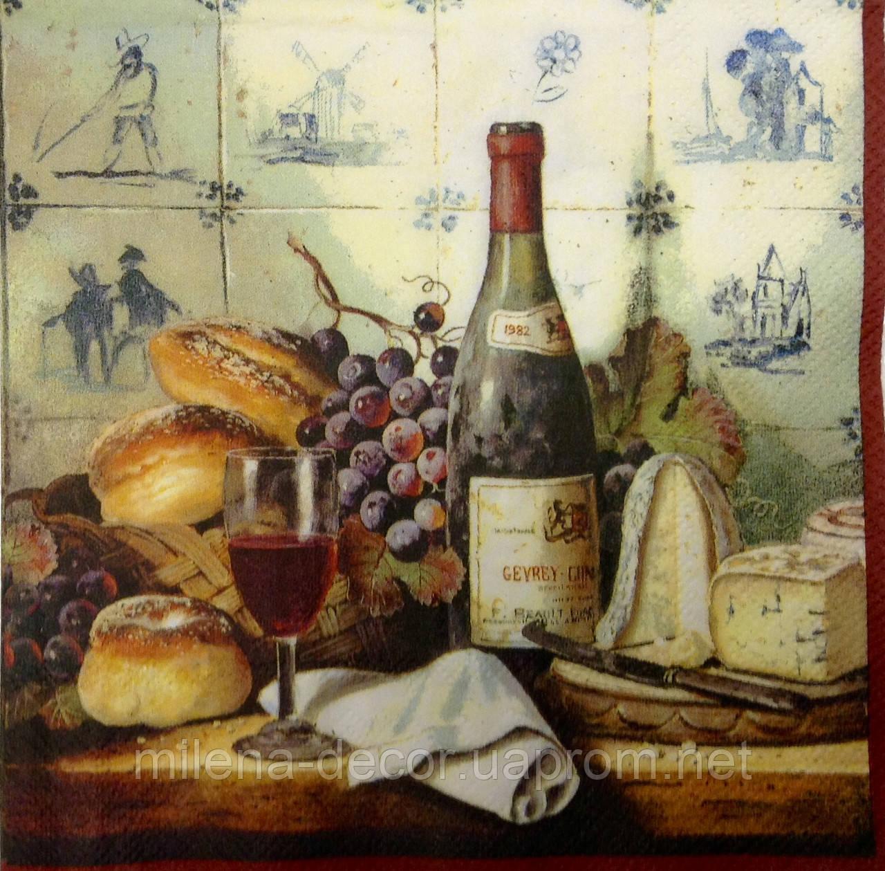 Салфетка для декупажа вино (33*33 см.)