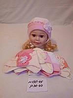 Трикотажная шапка для новорожденных на завязках Ажурная с цветком р.36-40