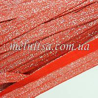 Резинка для повязок (эластичная тесьма), красная с серебром