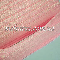 Резинка для повязок (эластичная тесьма), св.розовая с люрексом хамелеон