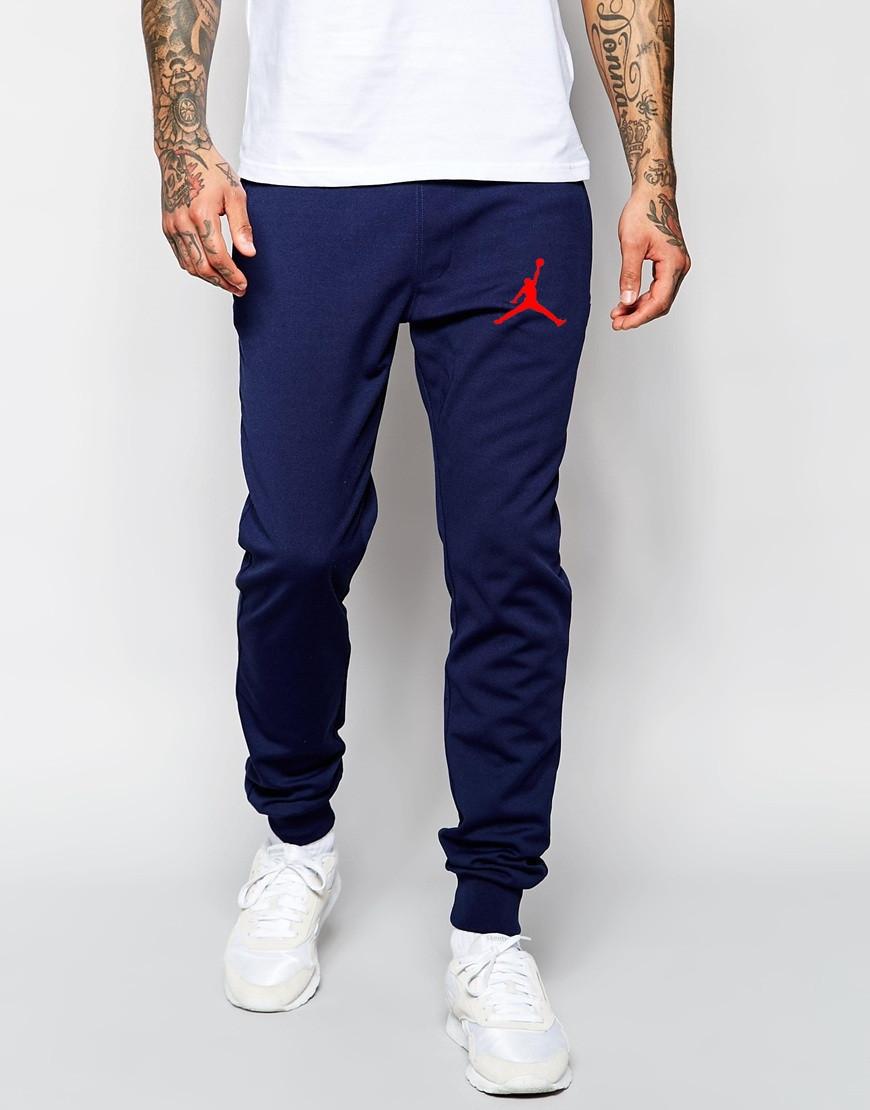 Мужские спортивные штаны Jordan т.синие (красный принт)
