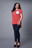 Стильная туника больших размеров ,мод 503-4,красная ,  размеры:48-50, 50-52, 52-54, 54-56, 56-58  , фото 1