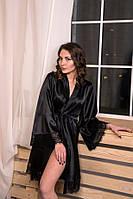 Черный атласный халат, размеры от XS до XXL
