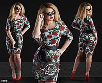 Платье с красивым цветочным узором, батал большие размеры