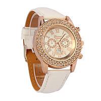 Наручные часы Geneva с камешками в два ряда белые