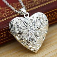 Кулон сердце открывающееся ажурное на цепочке
