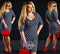 Деловое платье приталенное украшено брошью, батал большие размеры