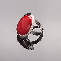 """Кольцо Коралл гладкая оправа  плоская """"Б""""  овальный  камень 2,9*2,2см без р-р"""