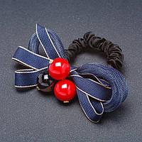 Резинка для волос Бант сетка синий
