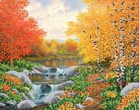 Схема для вышивки бисером Осенняя река