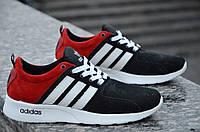 Кроссовки мужские Adidas реплика натуральная кожа замша черно-красные 2017. Со скидкой