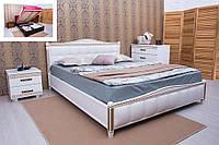 """Кровать """"Прованс"""" подъемный механизм, с патиной и фрезеровкой, мягкая спинка квадраты 120х200 см."""