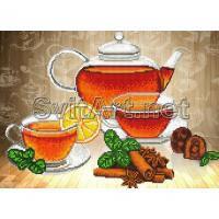 Ткань с рисунком для вышивки бисером Чай с лимоном