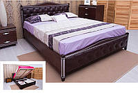"""Кровать """"Прованс"""" подъемный механизм, с патиной и фрезеровкой, мягкая спинка ромбы 120х200 см."""