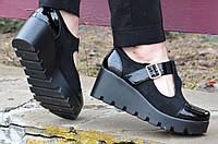 Босоножки, туфли женские на тракторной платформе замша черные удобные 2017. Со скидкой
