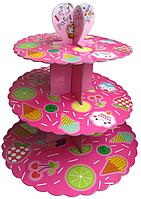 Трехъярусный стенд подставка для капкейков, розовый  EM0305 (Empire Эмпаир Емпаєр)