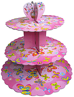 Трехъярусный стенд подставка для капкейков, розовый  EM0307 (Empire Эмпаир Емпаєр)